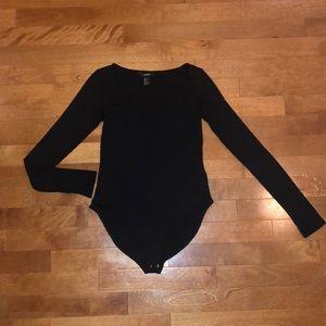 Black Long Sleeve Ribbed Bodysuit